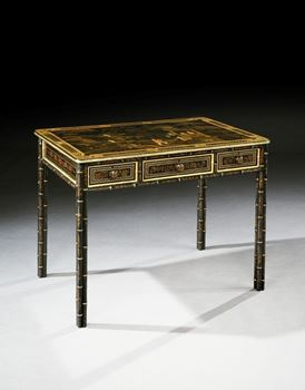 A REGENCY JAPANNED TOLE SIDE TABLE