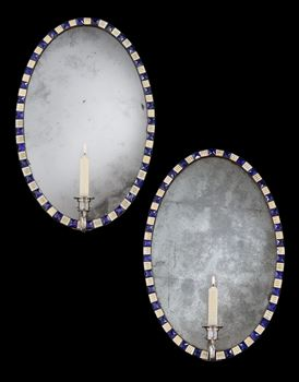 A PAIR OF IRISH GEORGE III OVAL MIRROR GIRANDOLES