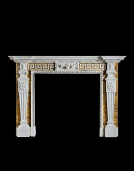 A GEORGE II CONVENT SIENNA MARBLE CHIMNEYPIECE