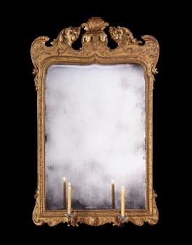 AN IMPORTANT GEORGE I CARVED GESSO AND GILTWOOD MIRROR ATTRIBUTED TO MOORE & GUMLEY