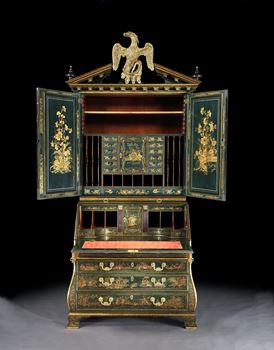 A HIGHLY IMPORTANT GEORGE II DARK GREEN JAPANNED BUREAU CABINET ATTRIBUTED TO GILES GRENDEY