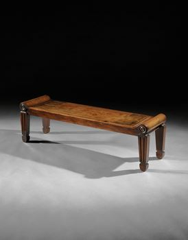 A PAIR OF GEORGE III MAHOGANY HALL BENCHES ATTRIBUTED TO MARSH & TATHAM