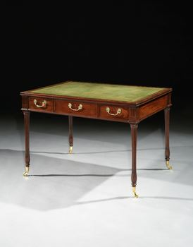 A GEORGE III MAHOGANY WRITING TABLE ATTRIBUTED TO JOHN LINNELL