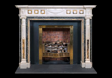 AN IRISH GEORGE III INLAID STATUARY MARBLE CHIMNEYPIECE BY GEORGE AND HILL DARLEY