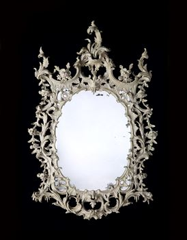 A GEORGE III WHITE PAINTED MIRROR