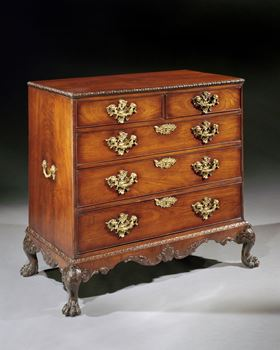 A GEORGE II ROSEWOOD CHEST OF DRAWERS ON STAND ATTRIBUTED TO OTHO CHANNON