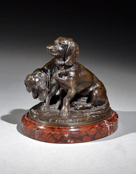 A PAIR OF BRONZE DACHSHUNDS BY EMMANUEL FREMIET