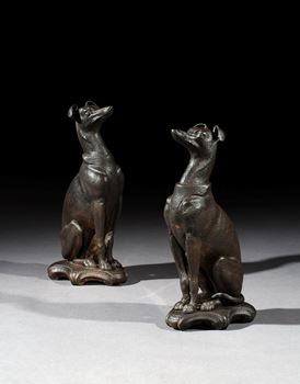 A PAIR OF VICTORIAN CAST IRON WHIPPETS