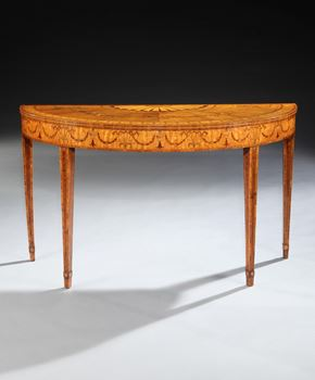 A PAIR OF GEORGE III SYCAMORE SATINWOOD SIDE TABLES ATTRIBUTED TO WILLIAM MOORE