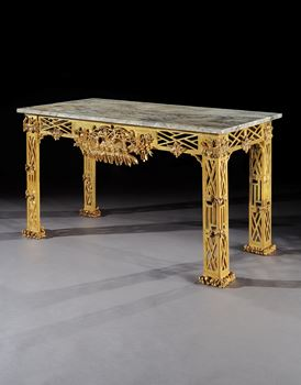A PAIR OF GEORGE II GILTWOOD SIDE TABLES TO A DESIGN BY THOMAS CHIPPENDALE