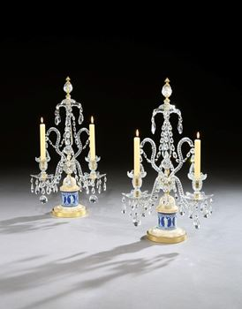 A PAIR OF GEORGE III CUT GLASS CANDELABRA ATTRIBUTED TO WILLIAM PARKER