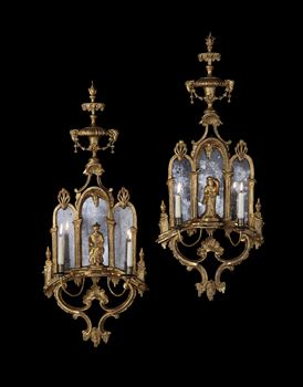 A PAIR OF GEORGE III GILTWOOD TWIN-LIGHT GIRANDOLES