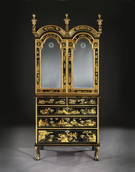 A GEORGE I BLACK AND GOLD JAPANNED CABINET