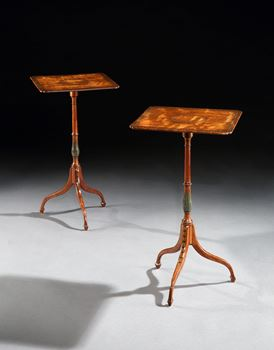 A PAIR OF GEORGE III POLYCHROME DECORATED SATINWOOD TRIPOD TABLES