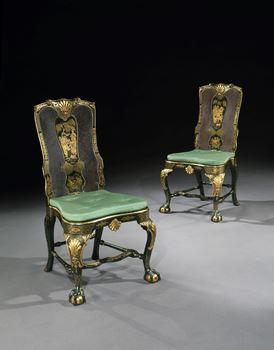 A PAIR OF GEORGE I GREEN JAPANNED SIDE CHAIRS ATTRIBUTED TO GILES GRENDEY