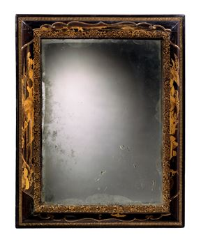 A CHARLES II JAPANESE EXPORT LACQUER MIRROR