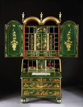 A GEORGE I GREEN JAPANNED BUREAU CABINET ALMOST CERTAINLY BY JOHN BELCHIER