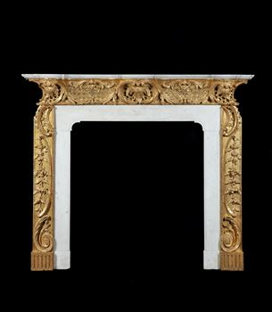 A GEORGE II GILTWOOD AND MARBLE CHIMNEYPIECE TO A DESIGN BY THOMAS JOHNSON