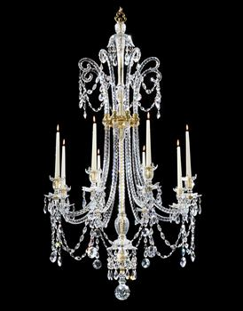 A GEORGE III CUT GLASS EIGHT LIGHT CHANDELIER BY MOSES LAFOUNT, NO. 426