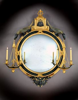 A GEORGE III GILTWOOD AND BRONZE PAINTED CONVEX MIRROR