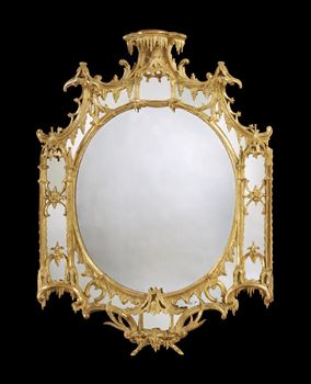 A GEORGE III GILTWOOD BORDER GLASS MIRROR