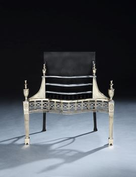 A GEORGE III GUN METAL AND CAST IRON FIRE GRATE