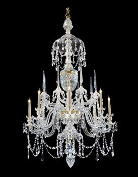 A GEORGE III ORMOLU MOUNTED CUT GLASS CHANDELIER ATTRIBUTED TO PARKER AND PERRY