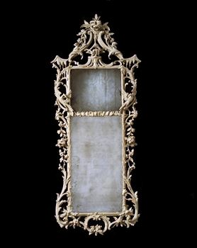 A GEORGE III WHITE PAINTED PIER MIRROR