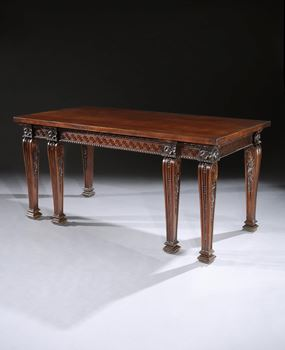 A GEORGE II MAHOGANY SIDE TABLE ATTRIBUTED TO WILLIAM LINNELL