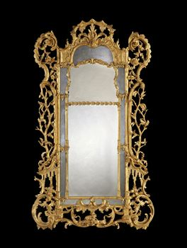 AN IRISH GEORGE III GILTWOOD BORDER GLASS PIER MIRROR