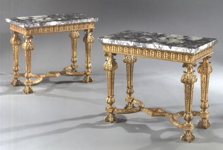 A PAIR OF GEORGE I GESSO TABLES BY JAMES MOORE THE ELDER