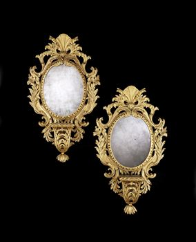 A PAIR OF GEORGE II GILTWOOD MIRRORS WITH BRACKETS