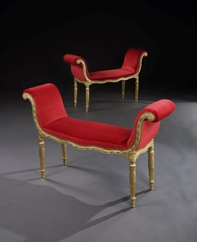 A PAIR OF GEORGE III GILTWOOD WINDOW SEATS