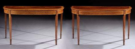 A PAIR OF GEORGE III MAHOGANY SIDE TABLES