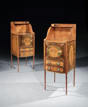 A PAIR OF GEORGE III SATINWOOD AND HAREWOOD BEDSIDE CUPBOARDS DESIGNED BY THOMAS SHERATON