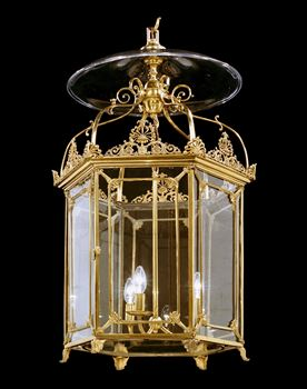 A REGENCY HEXAGONAL BRASS LANTERN ATTRIBUTED TO WILLIAM COLLINS