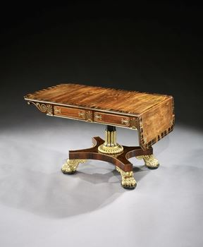 A REGENCY PARCEL GILT BRASS INLAID ROSEWOOD SOFA TABLE