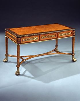 A REGENCY SATINWOOD BOULLE INLAID AND FAUX BAMBOO LIBRARY TABLE