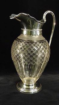 A VICTORIAN SILVER MOUNTED CLARET JUG BY CARTWRIGHT & WOODWARD