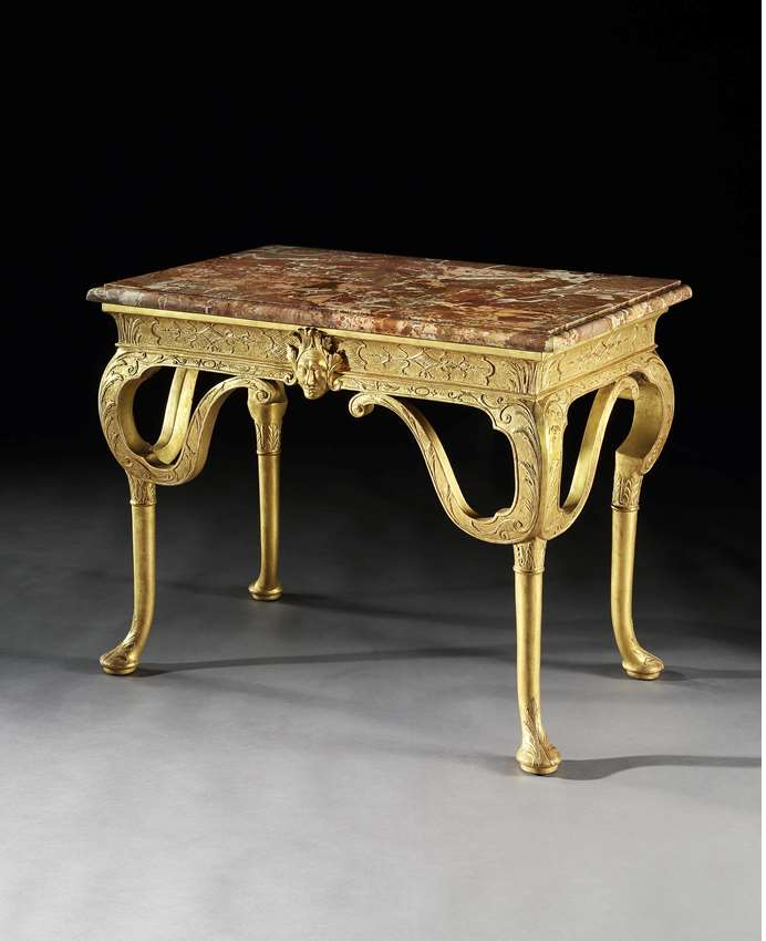 A GEORGE I GESSO SIDE TABLE ATTRIBUTED TO JAMES MOORE