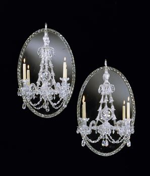 A PAIR OF GEORGE III IRISH MIRROR CHANDELIERS