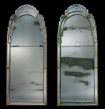 A PAIR OF QUEEN ANNE PERIOD BORDER GLASS MIRRORS