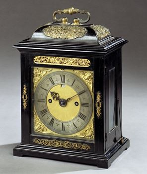 A WILLIAM AND MARY EBONY VENEERED PHASE 1 TABLE CLOCK BY THOMAS TOMPION
