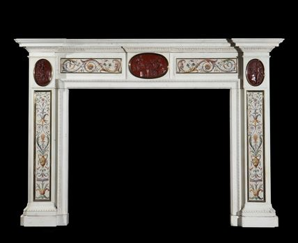 A GEORGE III ITALIAN EXPORT WHITE MARBLE CHIMNEYPIECE