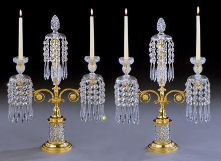 A PAIR OF REGENCY GLASS AND ORMOLU CANDELABRA