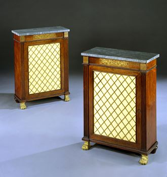 A PAIR OF REGENCY ROSEWOOD SIDE CABINETS