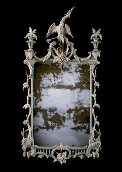 A RARE GEORGE III BLUE AND WHITE PAINTED MIRROR