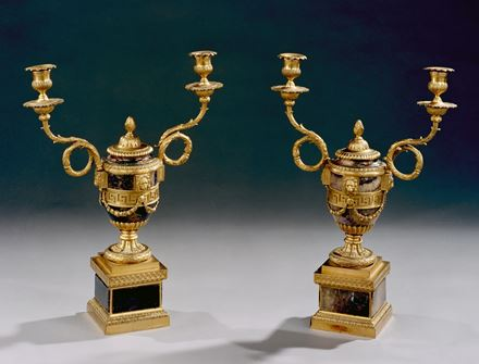 A PAIR OF GEORGE III ORMOLU MOUNTED BLUE JOHN, LION-FACED CANDLE VASES BY MATTHEW BOULTON