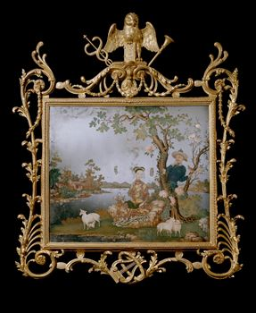 A GEORGE III GILTWOOD FRAME WITH A CHINESE MIRROR PAINTING