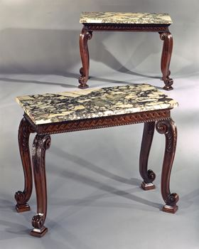 AN IMPORTANT PAIR OF GEORGE II MAHOGANY SIDE TABLES ATTRIBUTED TO BENJAMIN GOODISON